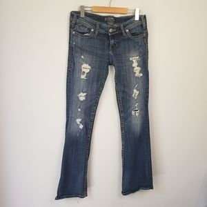 Silver Pioneer Jeans Bootcut Flare Distressed Ripped Y2K Distressed Boho Western